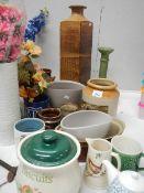 A mixed lot of ceramics including bowls, teapots, vases etc.