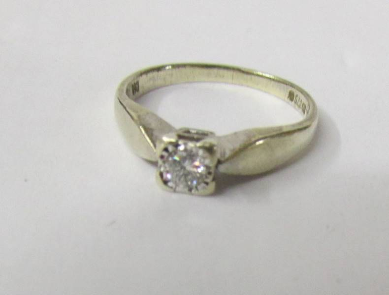 A single stone diamond ring in 9ct gold, size L half. - Image 2 of 2
