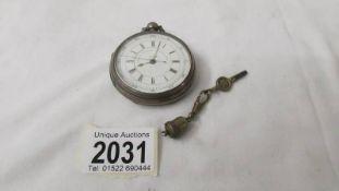 A silver pocket watch - patent decimal chronograph 23582.
