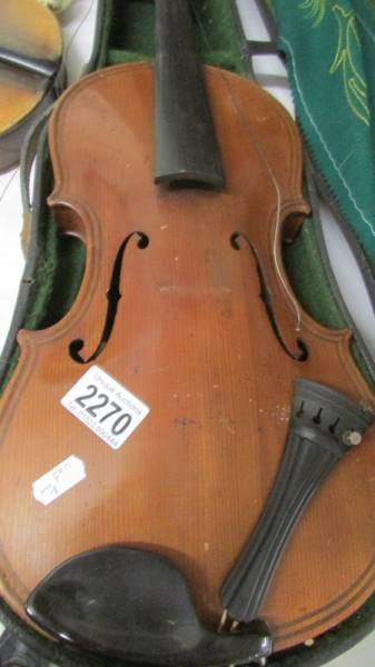 A cased violin, a/f. ****Condition report**** Size; 14. - Image 2 of 4