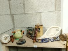 A good collection of collectables including bed pan, pipes & enamel signage etc.