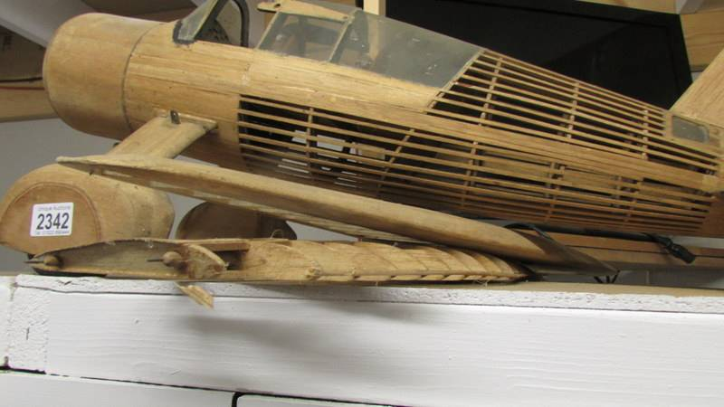 A part built model aircraft in wood (Westland Lysander). - Image 4 of 4