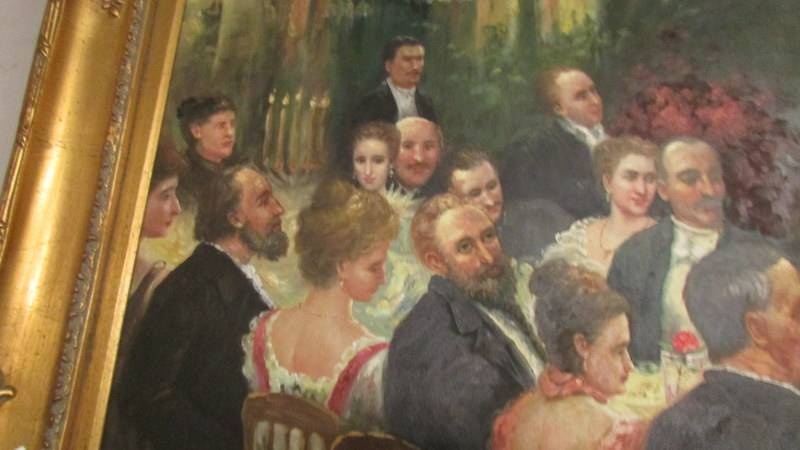 A superb gilt framed oil on canvas depicting a Russian dinner party, - Image 6 of 12