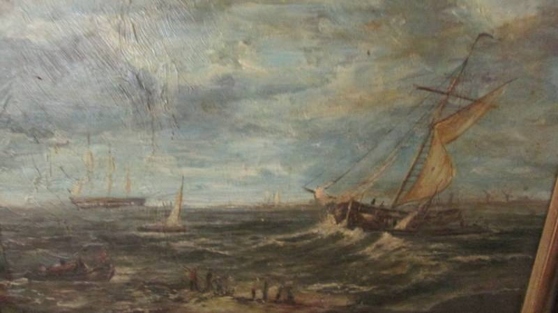 """An oil on board painting """"Off Dutch Coast"""" signed reverse Alfred Cline. - Image 2 of 2"""