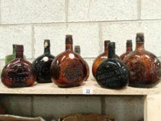 8 brown wine bottles including 'Burgoyne' to the King