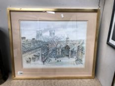 A limited edition of 850 artists proofs of York Minster from the roof of the mansion house, York,