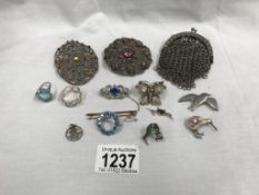 A mixed lot of brooches & chain purse etc.