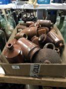 A box of stoneware pots/jugs
