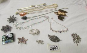 A mixed lot of costume jewellery including pendants, necklaces and brooches.
