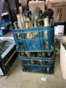 2 crates of 'ready to clean' vintage bottles