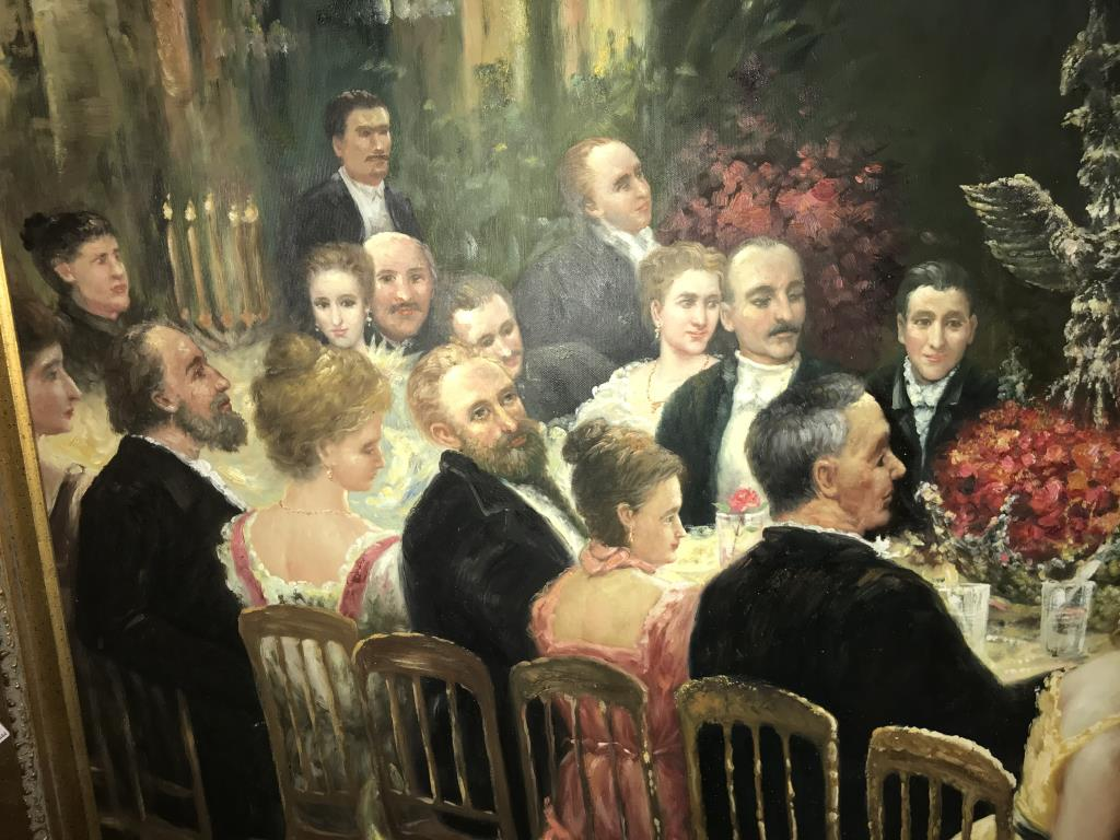 A superb gilt framed oil on canvas depicting a Russian dinner party, - Image 11 of 12
