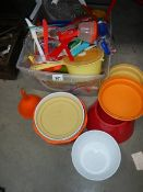 A box of circa 1970's plastic dishes, cutlery etc.