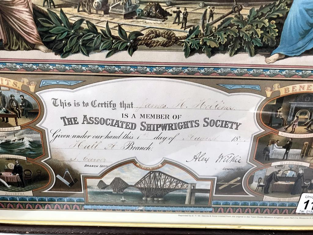 A framed & glazed reproduction associated Shipwrights Society certification 1891 picture - Image 2 of 7