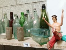 A good lot of Lincoln & name clean bottles including 2 Oxo jars & an Action Man