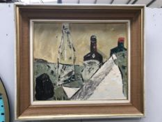 A crude still life painting on board,