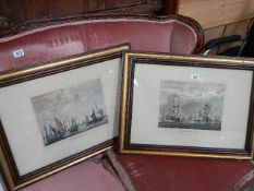 A pair of framed and glazed nautical prints - English and Dutch fleets.