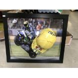 A framed display Valentine Rossi signed hat & picture