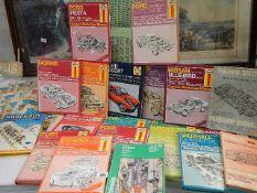 A quantity of Haynes workshop manuals including Ford, Morris, Triumph, Nissan etc.