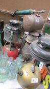 5 Tilly lamps & a vintage garden sprayer