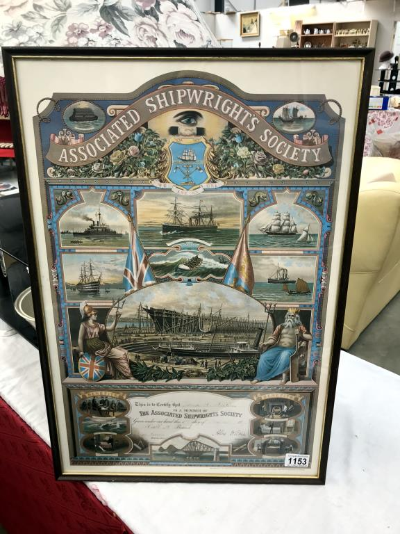 A framed & glazed reproduction associated Shipwrights Society certification 1891 picture