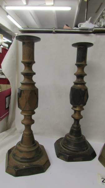 Two pairs of Victorian brass candlesticks - 'King of Diamonds' and 'The Diamond Princess'. - Image 2 of 4