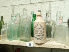 A large collection of various 'name' bottles
