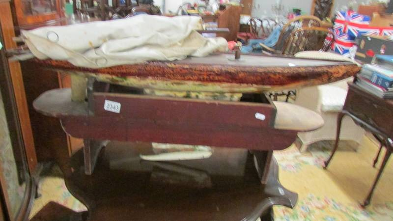 An 1890's pond yacht on stand (originally belonging to the Barbour family). - Image 4 of 4