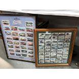 A framed & glazed Churchman landmarks in railway progress cigarette card set & a framed 7 glazed