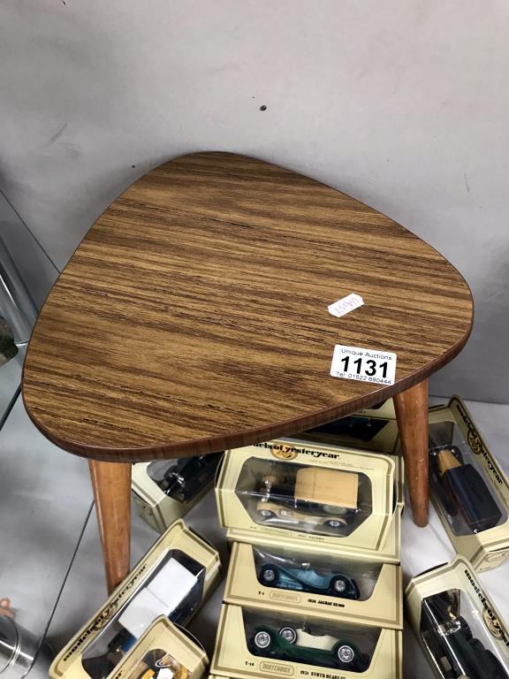 A 1970's retro tripod teak effect side table - Image 2 of 2