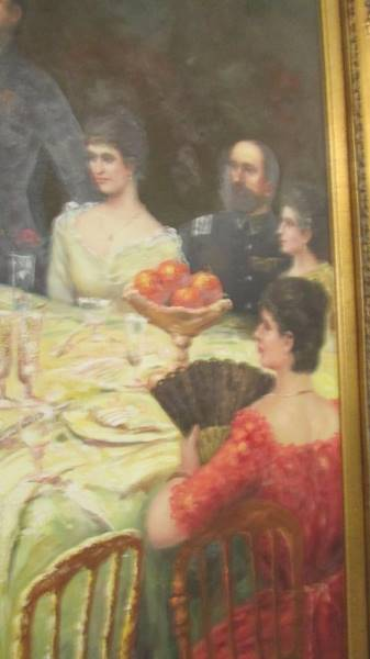 A superb gilt framed oil on canvas depicting a Russian dinner party, - Image 5 of 12