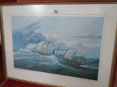 A framed and glazed nautical print.