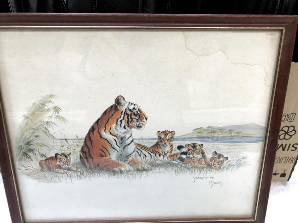 3 framed prints of big cats, tiger, - Image 6 of 8