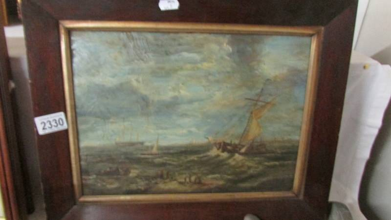 """An oil on board painting """"Off Dutch Coast"""" signed reverse Alfred Cline."""