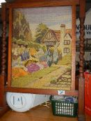 A good embroidered fire screen,