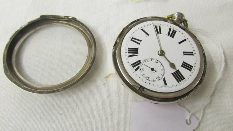 A Gents Chester silver cased pocket watch, working but no key, hinge needs attention. - Image 3 of 3