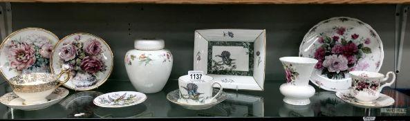 A mixed lot of china including Wedgwood, Royal Albert, Aynsley & Coalport etc.