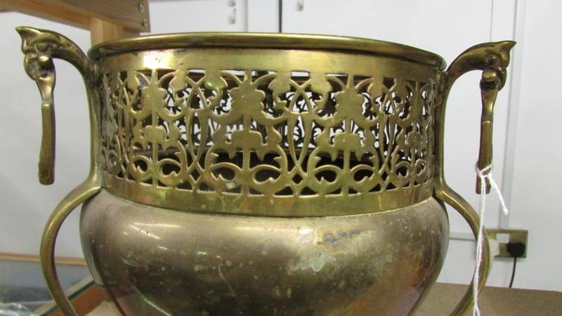 An Edwardian art nouveau brass three footed jardeniere. - Image 4 of 4