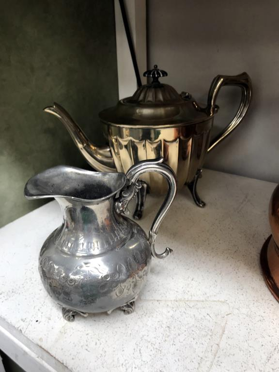 A Victorian copper half gallon jug 7 quantity of silver plate, - Image 2 of 5