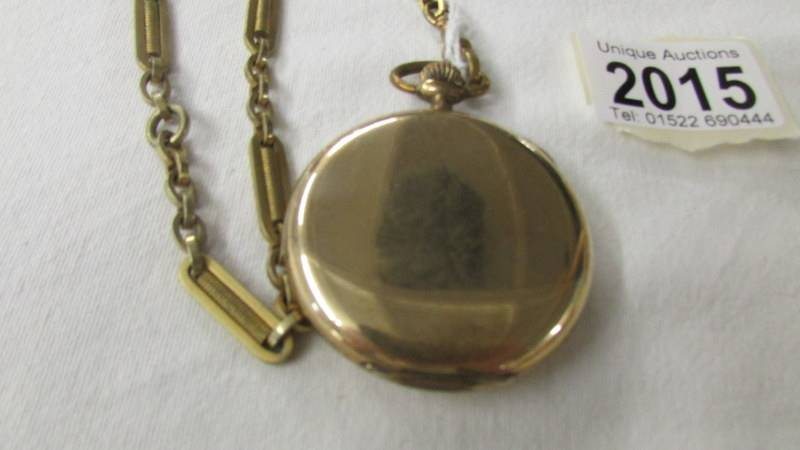 A Thos. Russell & Son, Liverpool gold plated pocket watch on chain. - Image 3 of 3