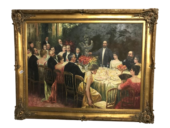 A superb gilt framed oil on canvas depicting a Russian dinner party,