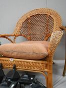 A good conservatory fan back chair with matching foot stool.