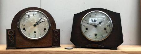 2 1930's oak mantel clocks,