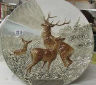 A superb large Schutz Blansko wall plaque featuring a group of deer, 18.