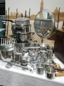A mixed lot including stainless steel pans, jugs etc.