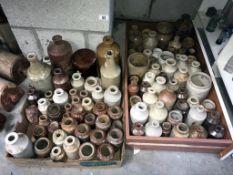 2 large boxes of glazed pots & bottles