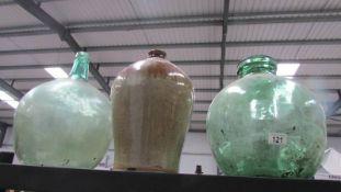 2 large green vivariums & a large stoneware glazed jug ****Condition report****