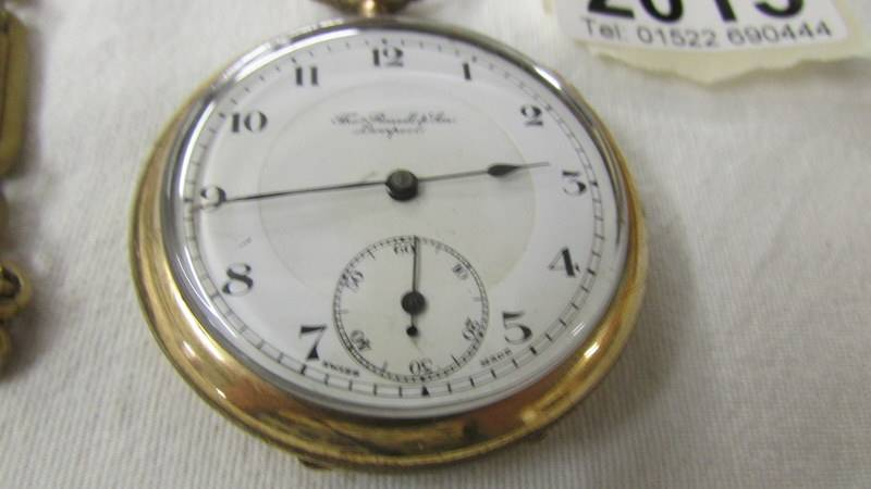 A Thos. Russell & Son, Liverpool gold plated pocket watch on chain. - Image 2 of 3