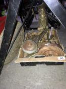 A box of vintage brassware