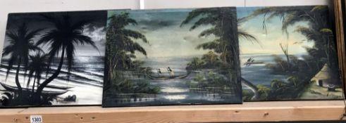 3 oils on canvas of native scenes by E.M.