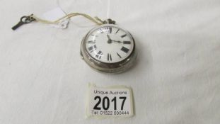A 'Francis Jay, Horncastle' silver cased Verge pocket watch with silver outer case.